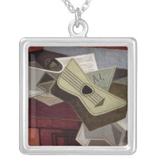 Guitar and Newspaper, 1925 Square Pendant Necklace
