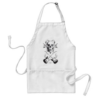 Guitar and Skull Design Adult Apron