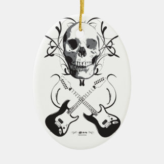 Guitar and Skull Design Ceramic Ornament