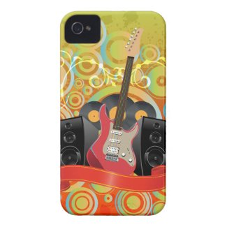 guitar and speakers with funky background iphone 4 covers