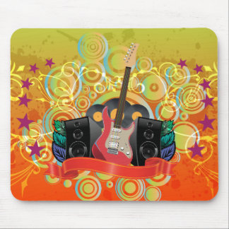 guitar and speakers with funky background mouse pad