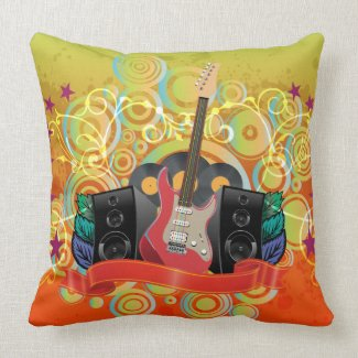 guitar and speakers with funky background throw pillows