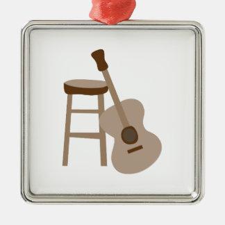 Guitar and Stool Square Metal Christmas Ornament