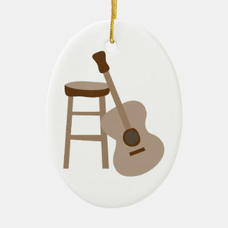 Guitar and Stool Double-Sided Oval Ceramic Christmas Ornament
