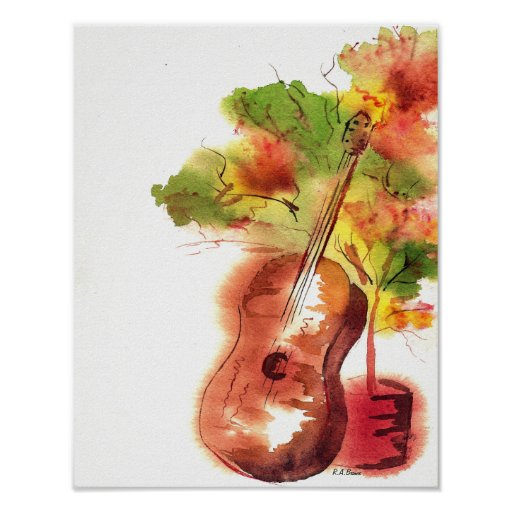 Guitar And Tree Poster