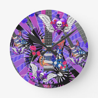 Guitar Art Jester Skull With Black Graphics Clock