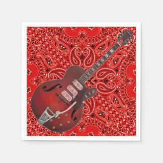 Guitar Bandana Country Music BBQ Picnic Paisley Disposable Napkin