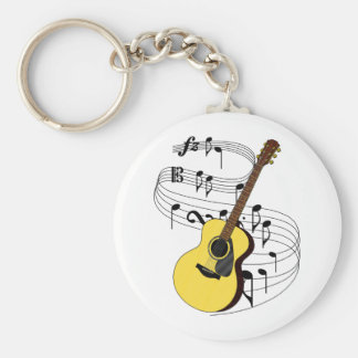 Guitar Basic Round Button Keychain