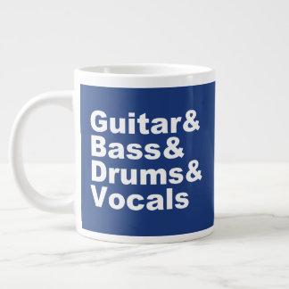 Guitar&Bass&Drums&Vocals (wht) Giant Coffee Mug