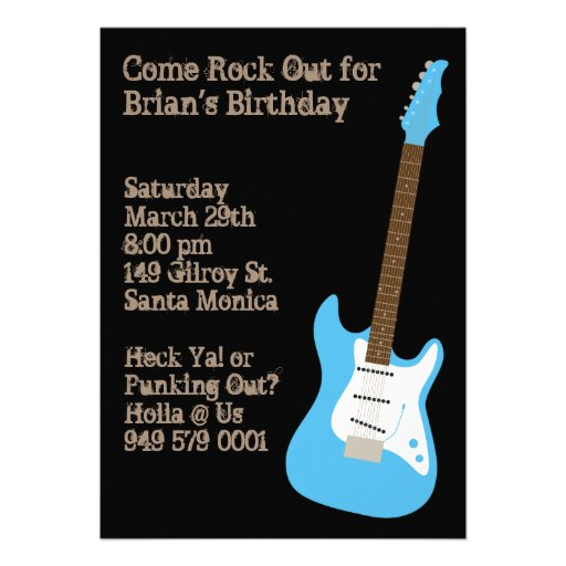 Personalized Rock N Roll Invitations