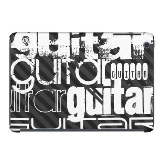 Guitar; Black & Dark Gray Stripes iPad Mini Covers