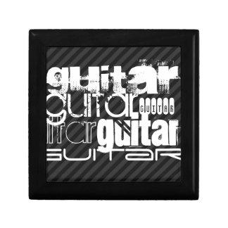 Guitar; Black & Dark Gray Stripes Trinket Boxes