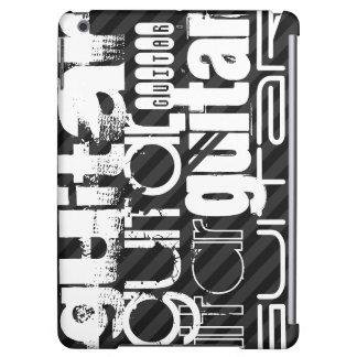 Guitar; Black & Dark Gray Stripes iPad Air Covers