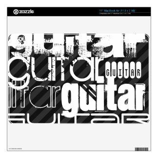 Guitar; Black & Dark Gray Stripes MacBook Decals