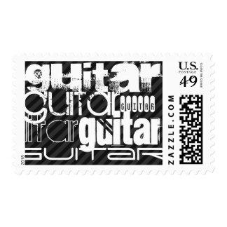 Guitar; Black & Dark Gray Stripes Stamps