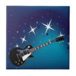 Guitar - blue ceramic tile