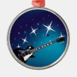 Guitar - blue christmas tree ornament