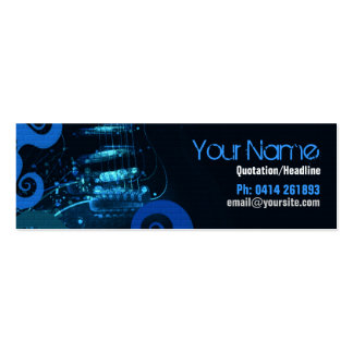 GUITAR Blue Grunge profile card Double-Sided Mini Business Cards (Pack Of 20)