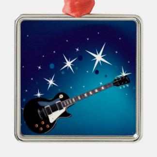 Guitar - Blue Metal Ornament