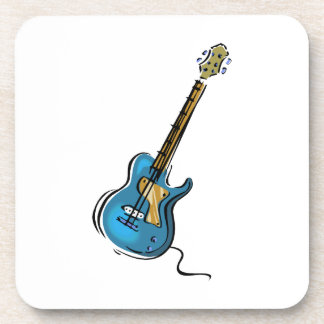 Guitar blue yellow shaded graphic beverage coaster