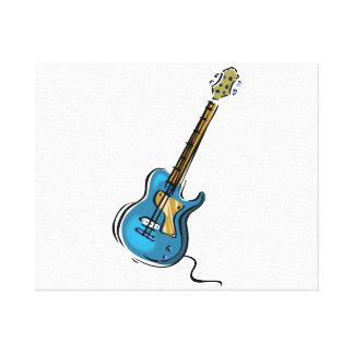 Guitar blue yellow shaded graphic canvas print