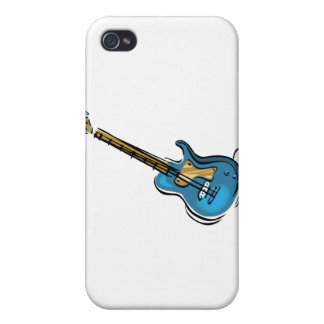 Guitar blue yellow shaded graphic cover for iPhone 4