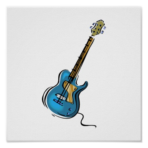 Guitar blue yellow shaded graphic poster