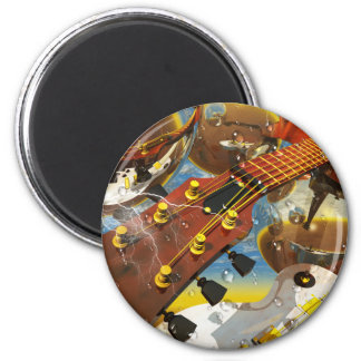 Guitar by Lenny art 2 Inch Round Magnet