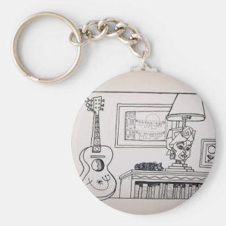 Guitar Cat and Lamp by Piliero Basic Round Button Keychain