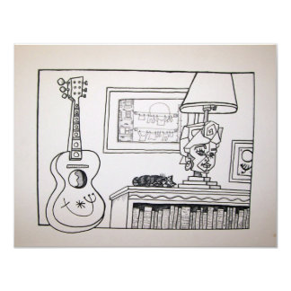 Guitar Cat and Lamp by Piliero 4.25x5.5 Paper Invitation Card