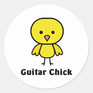 Guitar Chick Classic Round Sticker