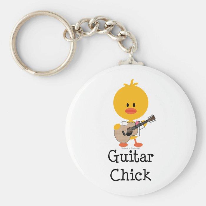 Guitar Chick Keychain