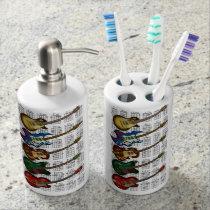Guitar & chord soap dispenser & toothbrush holder