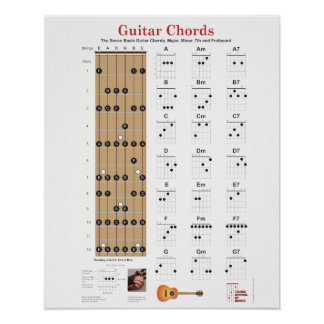 Guitar Chords and Fretboard with Major Notes Poste Poster