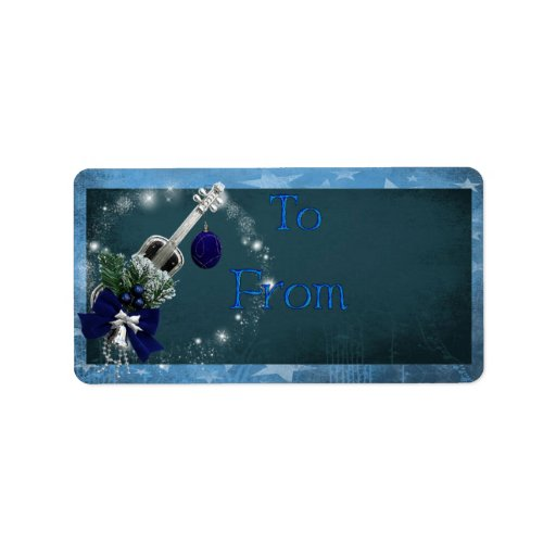 Guitar Christmas gift tag label Address Label