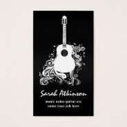 Guitar Cool Black Awesome Business Card at Zazzle
