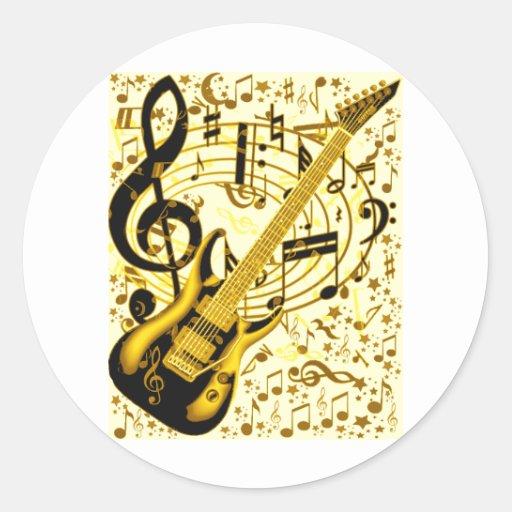 Guitar_ de oro pegatina redonda