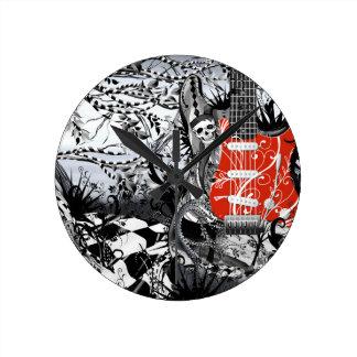Guitar Design Jester Skull In Black Forest Round Clock