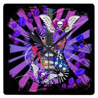 Guitar Design Jester Skull With Black Forest Clock