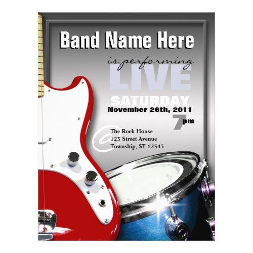 Guitar Drum Red & Blue Gig or Venue Flyers flyer