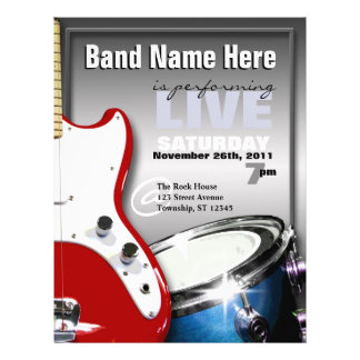 Guitar Drum Red & Blue Gig or Venue Flyers