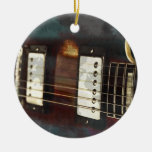 guitar electric music grunged background christmas tree ornament