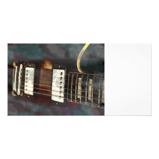 guitar electric music grunged background personalized photo card