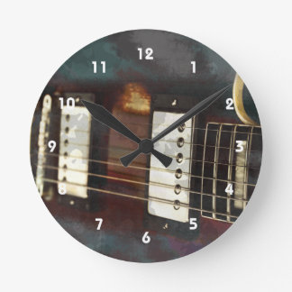 guitar electric music grunged background round clock