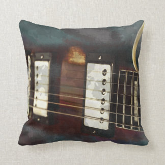 guitar electric music grunged background throw pillow