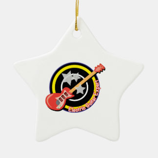 Guitar Expert Double-Sided Star Ceramic Christmas Ornament