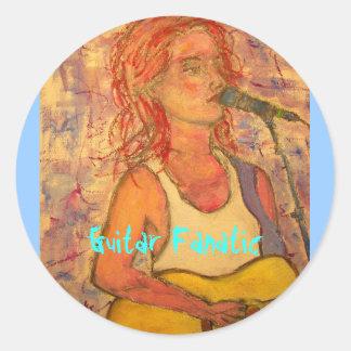 Guitar Fanatic Girl Classic Round Sticker
