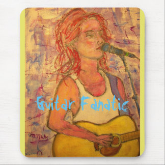 Guitar Fanatic Girl Mouse Pad