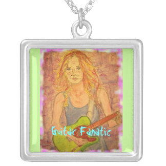 Guitar Fanatic Girl Square Pendant Necklace