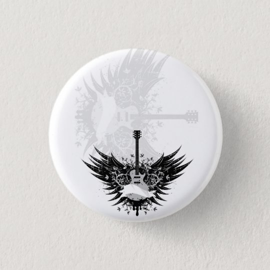 Guitar fishing rod (guitars angels) pinback button